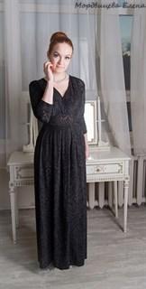 Черное платье из панбархата в пол с разрезом