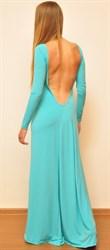 Голубое платье в пол с открытой спиной