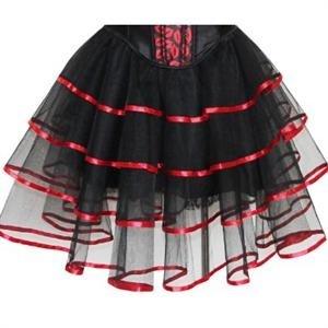 Длинная трехслойная юбка с подкладкой. Красная отделка