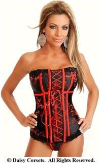 Черно-красный удлиненный корсет в восточном стиле