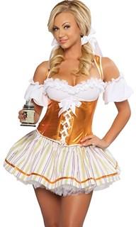 Маскарадный костюм баварской девушки с золотистым топом и пышной юбкой