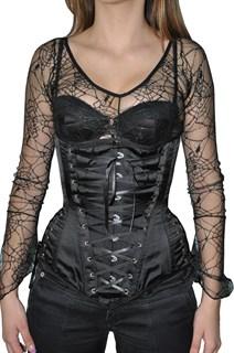 Черный утягивающий корсет под грудь с четырьмя шнуровками
