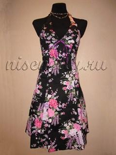 Летнее платье корсетного типа с фиолетовыми цветами