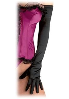 Длинные черные атласные перчатки