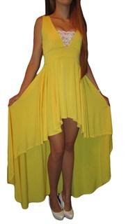Ярко-желтое платье спереди короткое, сзади длинное