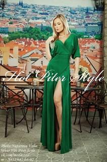 """Зеленое длинное платье халат """"летучая мышь"""""""