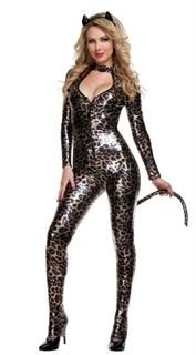 Блестящий леопардовый комбинезон с хвостом