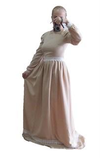 Бежевое платье в пол с белым кружевом