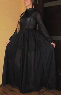 Платье рубашка в пол из тончайшего хлопка в горошек
