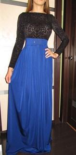 Синее платье в пол, верх из панбархата