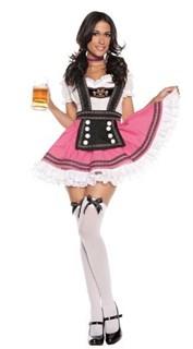 Костюм баварской девушки с розовой юбкой