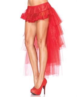 Кружевная мини юбка с длинным хвостом из сетки. Красный