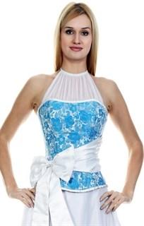 Голубой корсет с белым бантом