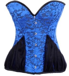 Голубой удлиненный корсет с черной сеткой