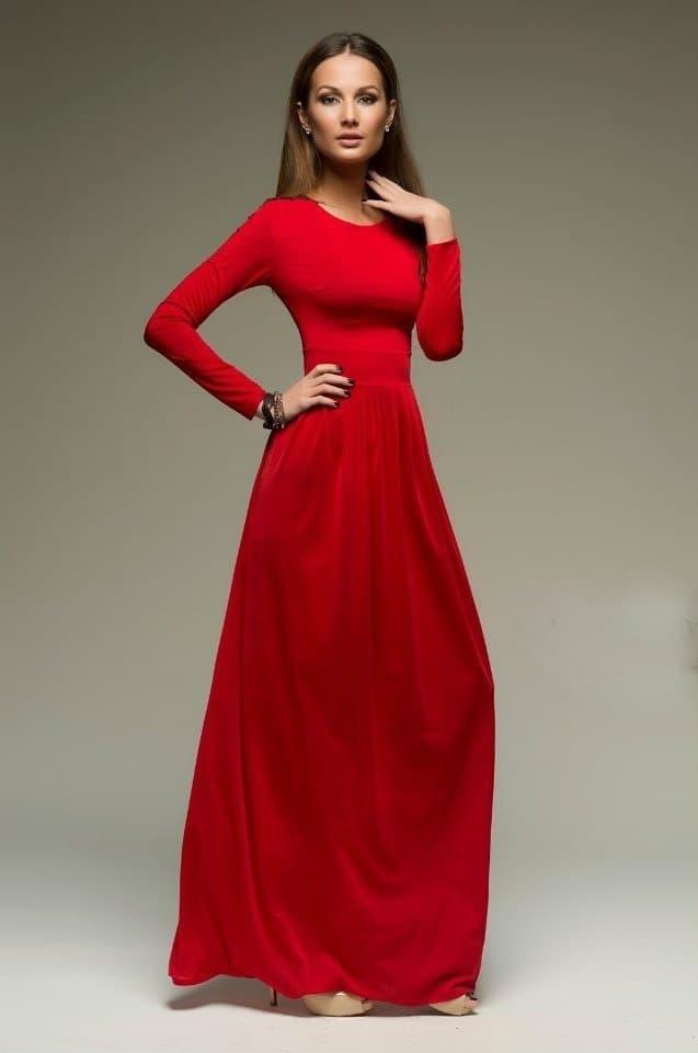 e1bbcc0fc34 Строгое красное платье в пол прямое классическое. 222 - фото 5900