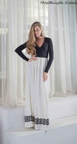 Черно-белое платье в пол с длинным рукавом - фото 10399