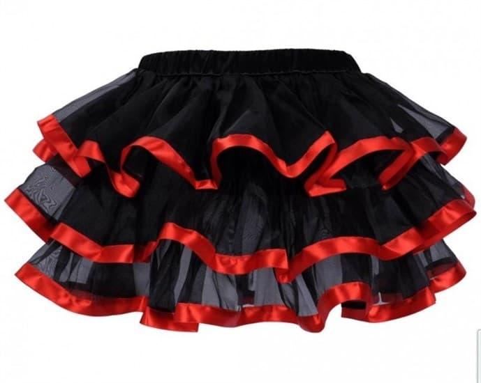 Трехслойная юбка с красным кантом - фото 12353