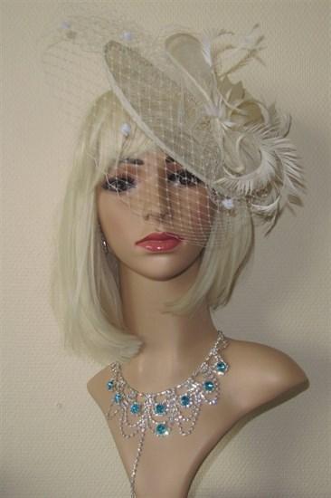 Шляпка Рейчел с вуалью. Молочная - фото 13091