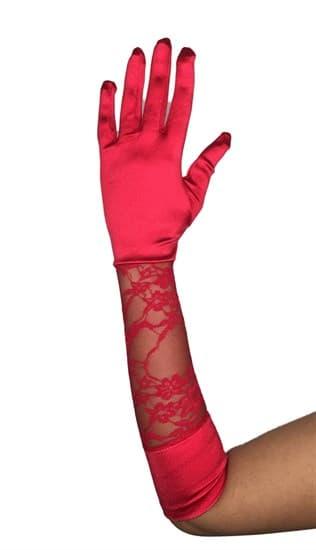 Атласные перчатки с гипюровой вставкой. Красные - фото 13486
