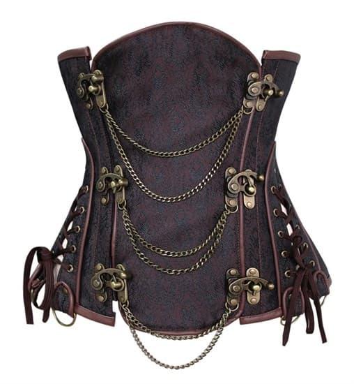 Steampunk Коричневый корсет под грудь - фото 13619