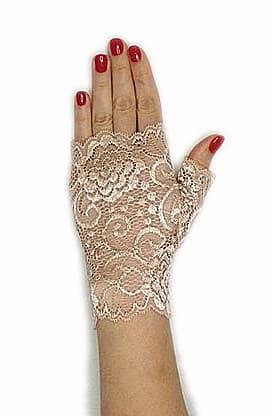 кружевные перчатки митенки. Бежевые фото