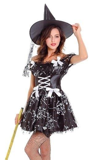 Платье черной ведьмы с серебристым рисунком