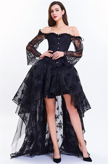 Ассиметричная юбка в пол с напылением. Черная