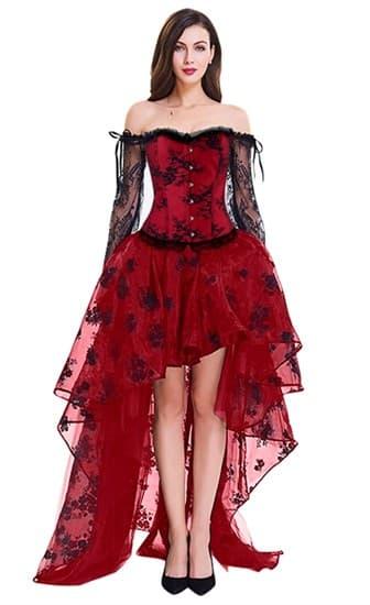 Ассиметричная юбка в пол с напылением. Красная