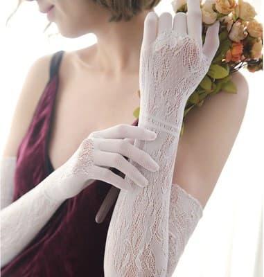 Длинные белые перчатки, тонкое вязаное кружево - фото 14847