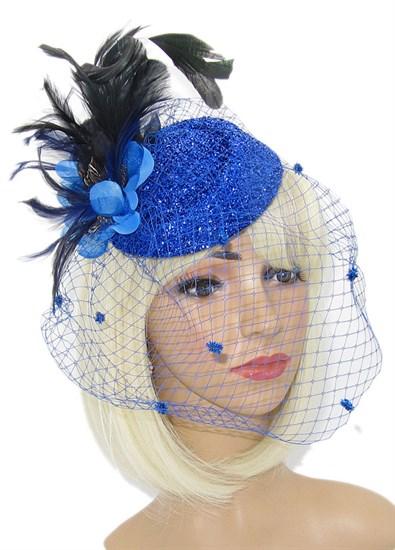 Блестящая шляпка Жанет вуалью. Синяя - фото 15131