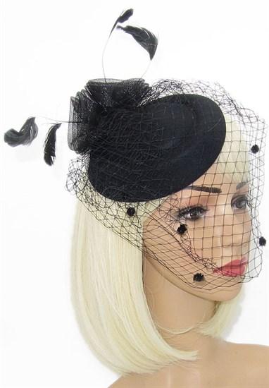 """Шляпка с вуалью """"Жанет"""". Черная - фото 15141"""