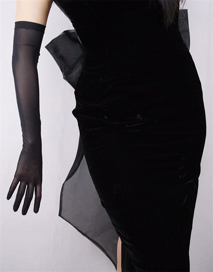 Черные длинные прозрачные перчатки. 57см - фото 15241