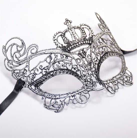 Кружевная маска королевы. Серебристая - фото 15616