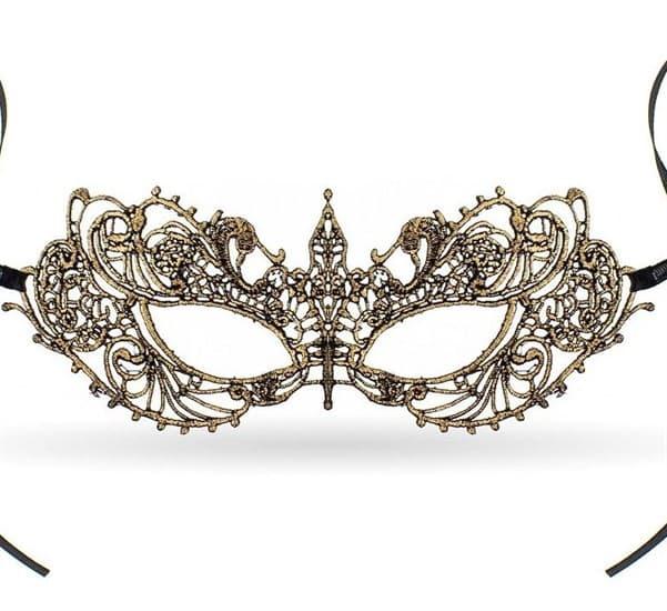 Кружевная маска бабочка. Золотая - фото 15646