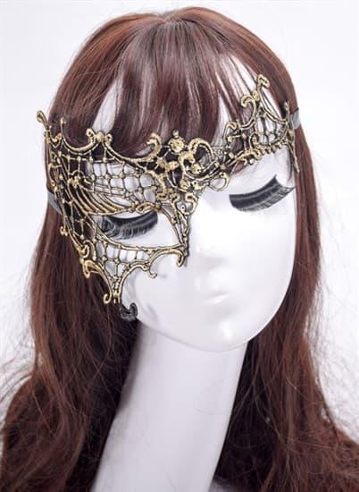 Кружевная маска на один глаз. Золото - фото 15659