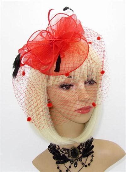 Шляпка из регилина с вуалью и перьями Алексия. Красная - фото 15907