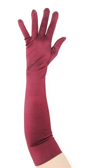 Длинные атласные перчатки цвета марсала. 50 и 55 см - фото 15941