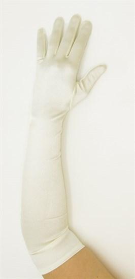 Длинные атласные перчатки айвори. 50, 55 и 65 см - фото 15949