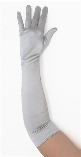 Длинные атласные серые перчатки. 50 см - фото 15978