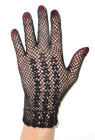 Короткие перчатки сетка ручная работа. 3418 - фото 16548