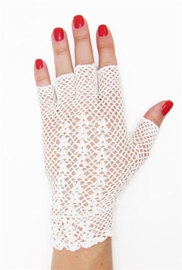 Короткие перчатки без пальцев сетка ручная работа. 3419 - фото 16561