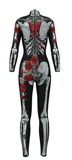 Костюм скелета комбинезон с красными цветами - фото 16697