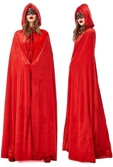Красный широкий плащ с капюшоном - фото 16732