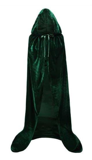 Темно-зеленый широкий плащ с капюшоном - фото 16744