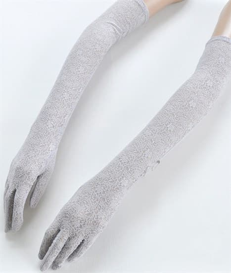 Длинные перчатки из плотного кружева. Светло-серые - фото 16843
