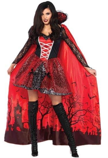 Платье вампирши с длинной юбкой и накидкой