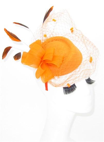 Шляпка с вуалью Жанна. Оранжевый - фото 17363