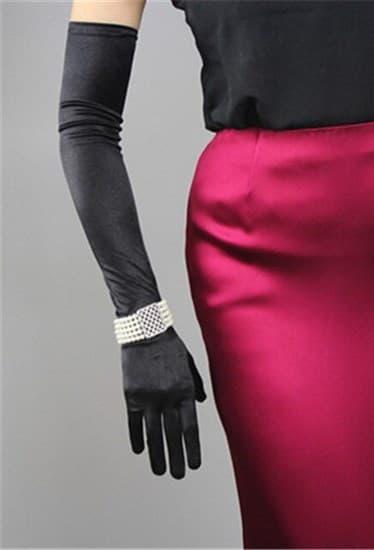 Длинные черные атласные перчатки - фото 17541