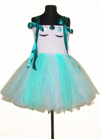 Пышное белое платье Единорог с бирюзовой юбкой и зелеными лентами - фото 17776