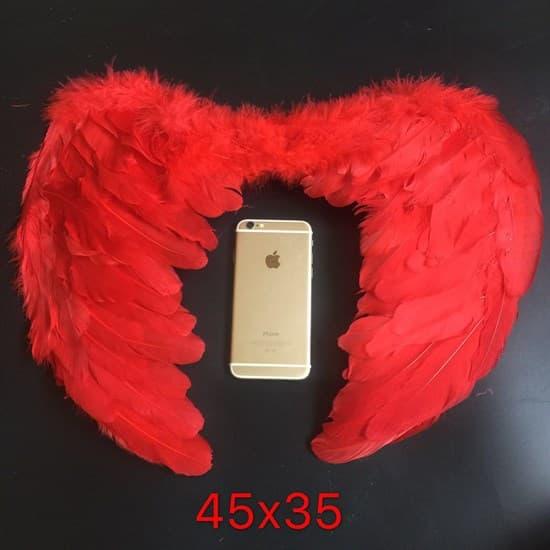 Крылья детские из перьев 45*35. Красные